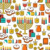 Hanukkah seamless pattern. Hanukkah simbols. Hanukkah candles, menorah, sufganiot and dreidel. Stock Photo