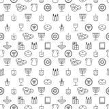 Hanukkah seamless pattern. Hanukkah simbols. Hanukkah candles, menorah, sufganiot and dreidel. Stock Images