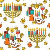 Hanukkah seamless pattern. Hanukkah simbols. Hanukkah candles, menorah, sufganiot and dreidel. Stock Photography