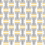 Hanukkah seamless pattern. Hanukkah simbols. Hanukkah candles, menorah, sufganiot and dreidel. Royalty Free Stock Photo
