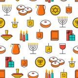 Hanukkah seamless pattern. Hanukkah symbols. Hanukkah candles, menorah, sufganiot and dreide. Stock Images