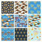 Hanukkah seamless pattern set Stock Photography