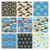 Hanukkah seamless pattern set royalty free illustration
