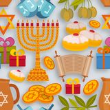Hanukkah seamless pattern with Torah, menorah and dreidels. Vector illustration Royalty Free Stock Photo