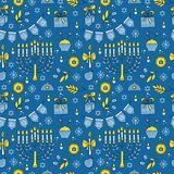 Hanukkah seamless pattern. Vector Hanukkah seamless pattern with menorah, candles, donuts, garland, bow, cupcake, gifts, candles, dreidel, confetti, coins oil Royalty Free Stock Images