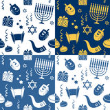 Hanukkah Seamless Patterns. A seamless pattern with Hanukkah elements, in four different versions. Useful also as design element for texture, pattern or gift stock illustration