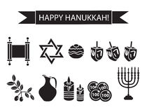 Hanukkah set black silhouette icons. Stock Photos