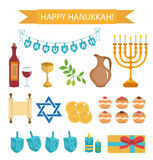 Hanukkah set of cartoon icons. Hanukkah Icons with Menorah Royalty Free Stock Photos