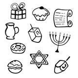 Hanukkah. A set of traditional attributes of the menorah, dreidel, candles, olive oil, Torah, donuts in a doodle style. Hanukkah. A set of traditional