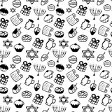 Hanukkah. A set of traditional attributes of the menorah, dreidel, oil, Torah, donut in a doodle style. Seamless Pattern. Hanukkah. A set of traditional Stock Images