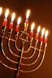 Hanukkah stearinljus Arkivbilder