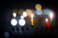 Hanukkah stearinljus royaltyfria foton