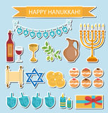 Hanukkah sticker pack. Hanukkah Icons with Menorah, Torah, Sufganiyot, Olives and Dreidel. Happy Hanukkah Festival of Lights, Feas Stock Image