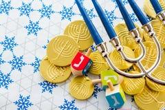 Hanukkah. A still life composed of elements of the Jewish Chanukah/Hanukkah festival Royalty Free Stock Image
