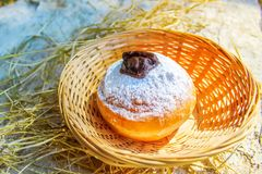 Hanukkah Sufganiyah for Jewish Holiday Hanukkah royalty free stock photography