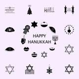 hanukkah symbolenpictogram Voor Web wordt geplaatst dat en het mobiele algemene begrip van Chanoekapictogrammen vector illustratie