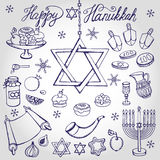 Hanukkah symbols.Doodle linear Jewish Holiday set Stock Photos