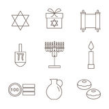 Hanukkah Symbols. The icons in the style of outlines. Stock Photo