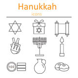 Hanukkah Symbols. The icons in the style of outlines. Royalty Free Stock Images