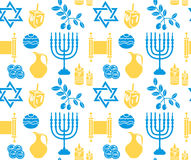 Hanukkah symbolu bezszwowy wzór tła Hanukkah menorah