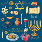 Hanukkah traditional jewish holiday symbols set Stock Photography