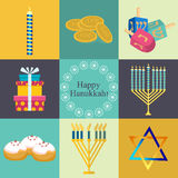 Hanukkah traditional symbols jewish icons set isolated . Stock Photo