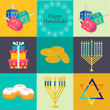 Hanukkah traditional symbols jewish icons set  vector. Royalty Free Stock Image