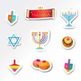 Hanukkah traditional symbols set menorah dfeidel donut Royalty Free Stock Images