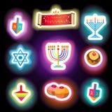 Hanukkah traditional symbols set neon glowing effect Royalty Free Stock Photography