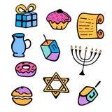 hanukkah Un sistema de las cualidades tradicionales del menorah, dreidel, velas, Torah, anillos de espuma en un estilo del garaba