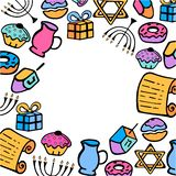 hanukkah Un sistema de los artículos tradicionales para el día de fiesta judío de luces en el estilo del garabato fotos de archivo