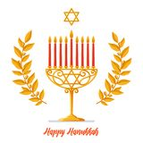 Hanukkah Vector card - Happy Hanukkah greeting inscription. Jewish holiday. Hanukkah gold Menorah with red candles, star Stock Photos