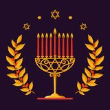 Hanukkah Vector card - Happy Hanukkah greeting inscription. Jewish holiday. Hanukkah gold Menorah with red candles, star. Gold Menorah with red candles. Hanukkah Stock Photo