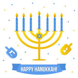 Hanukkah vector card with menorah and dreidel on white background.  Stock Image
