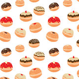 Hanukkah vector pattern with tasty doughnuts. Illustration