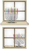 Hanukkiah op een Venster Stock Afbeelding
