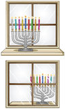 Hanukkiah On A Window. A Vector illustration of Hanukkiah with candles in front and behind a window for the Jewish holiday Hanukkah