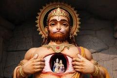 Hanuman雕象看法在Parmarth Niketan聚会所,瑞诗凯诗 库存照片