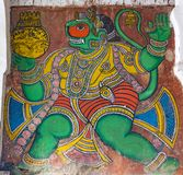 Hanuman - красочная картина на дворце Durbar Hall Tanjore стоковая фотография