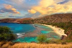 Hanuman Bay, Hawaii. Volcanic Hanuman Bay sunrise, panorama, Hawaii Royalty Free Stock Photo