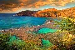 Hanuman Bay vulcanico, Hawai Fotografia Stock