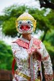 Hanuman, cultura Tailandia di arte che balla in Hanuman mascherato, Ramayana, Khon tailandese immagine stock libera da diritti