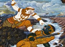 Hanuman fight and a demon , Royalty Free Stock Image