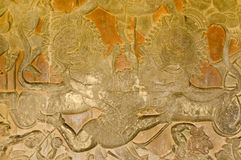 Hanuman Fighting Lions, Angkor Wat Temple Royalty Free Stock Image