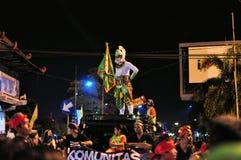 Hanuman Hindu Monkey God, Yogyakarta city festival. Yogyakarta, Indonesia - 7 October 2014:  258th city anniversary - Man is dressed in a Hanuman costume, monkey Royalty Free Stock Photo