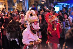 Hanuman Hindu Monkey God, Yogyakarta city festival. Yogyakarta, Indonesia - 7 October 2014:  258th city anniversary - Man is dressed in a Hanuman costume, monkey Royalty Free Stock Photos