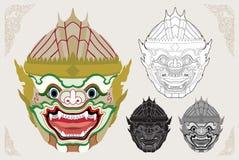 Hanuman hoofd vectorillustratie stock illustratie