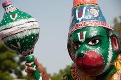 Hanuman like costumed man. At a Hindu celebration Royalty Free Stock Photos