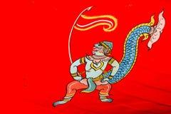 Hanuman målning av thai stil för konst Arkivfoto