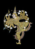 Hanuman på svart Royaltyfri Bild